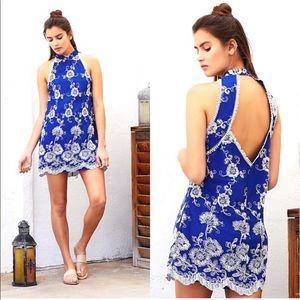 Lovers + Friends Moonlit Marine Lace Halter Dress